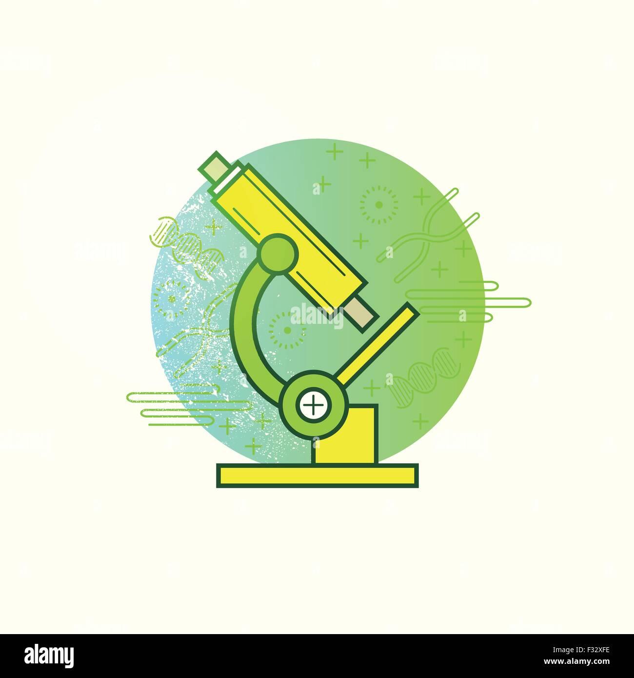 Microscopio de Vector. Una ciencia microscopio sobre un fondo de biología. Ilustración vectorial Imagen De Stock