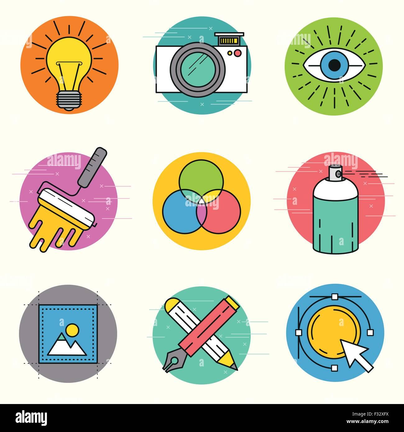 Vector creativo conjunto de iconos. Una colección de iconos de la línea temática de diseño incluyendo Imagen De Stock