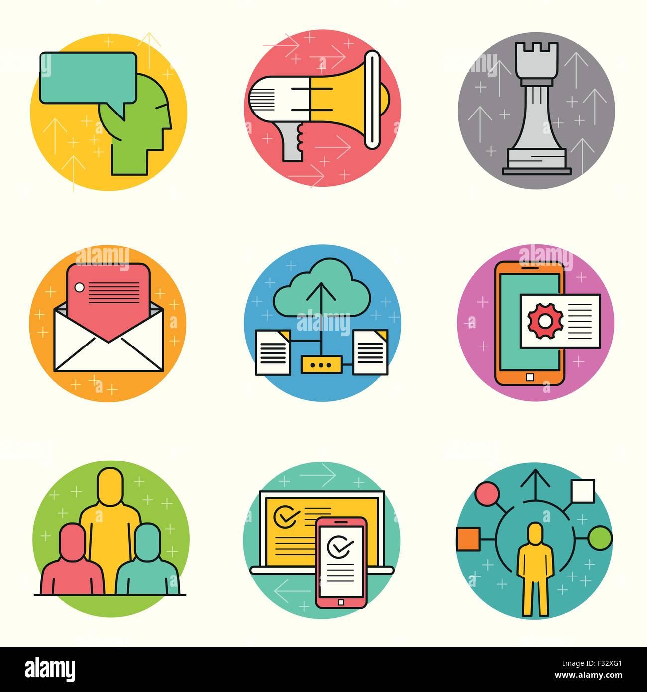 Vector de negocios conjunto de iconos. Una colección de iconos de la línea temática de negocios incluyendo Imagen De Stock
