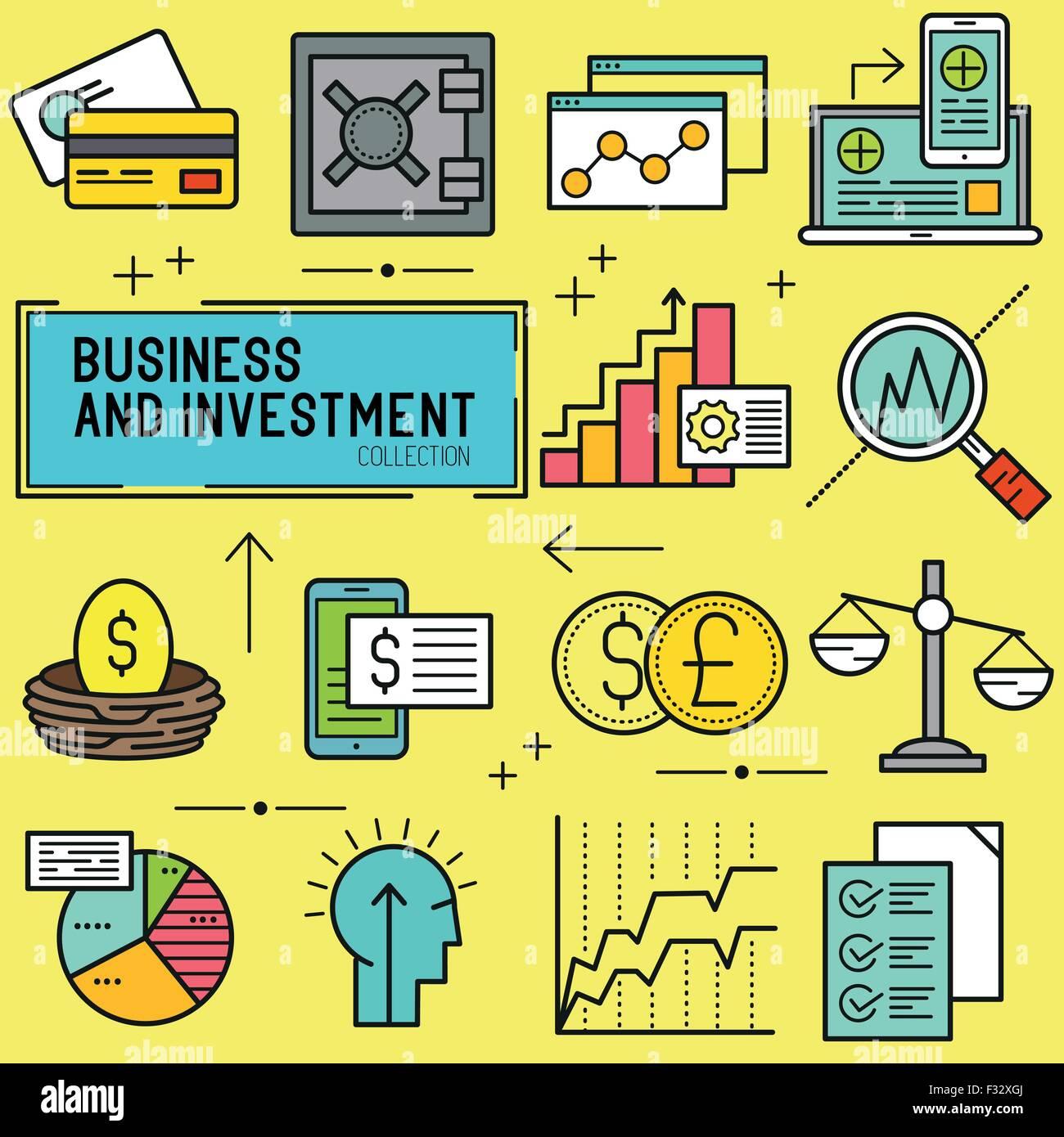 Inversión y Negocios de Vector. Una colección de temas empresariales y financieros los iconos de línea Imagen De Stock