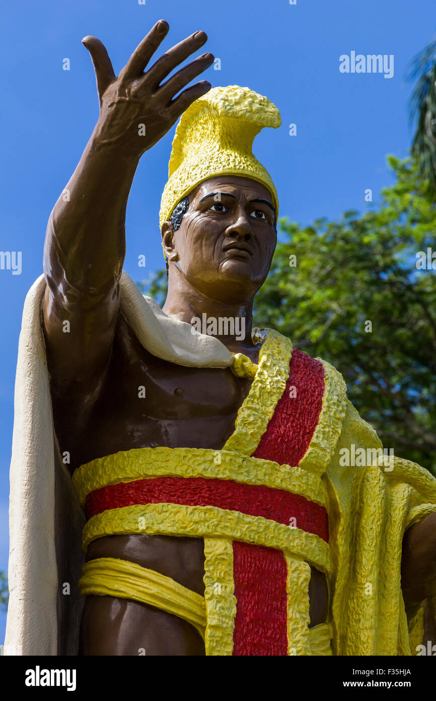 El rey Kamehameha nació en Kohala en la Isla Grande de Hawaii en el año 1758 el Cometa Halley hizo una aparición. Foto de stock