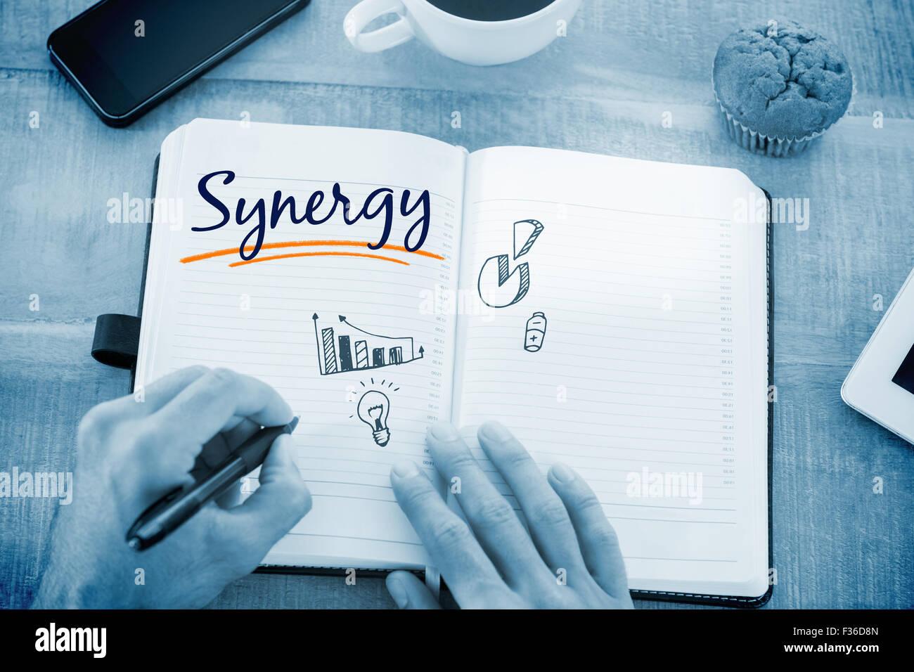 Sinergia en contra de los gráficos de negocios Imagen De Stock