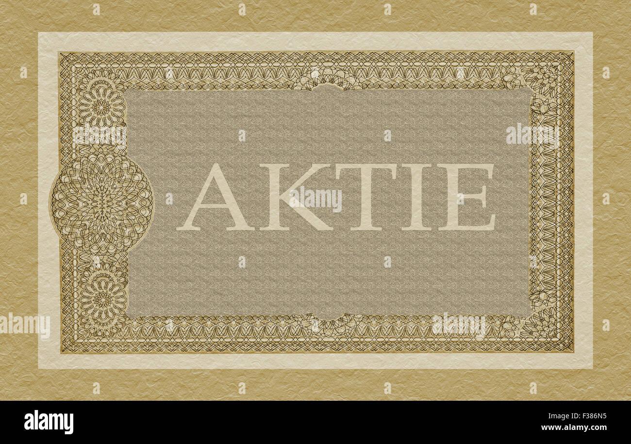 Vista parcial de una vieja parte alemana (Aktie) Imagen De Stock