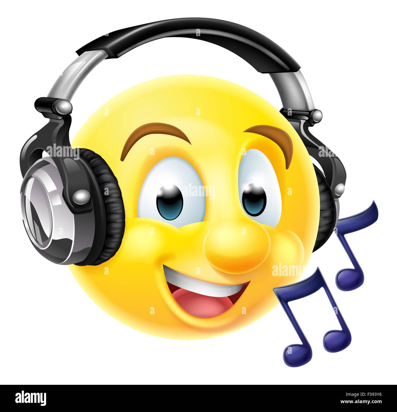 Un Emoticono Emoji Usando Audífonos Y Escuchar Música O Cantando