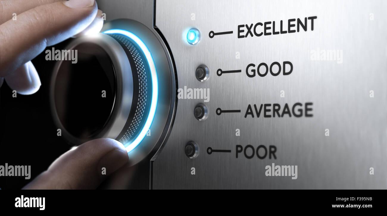 Mano girando el mando a la posición superior, la luz azul y efecto de desenfoque. Concepto imagen para un excelente Imagen De Stock
