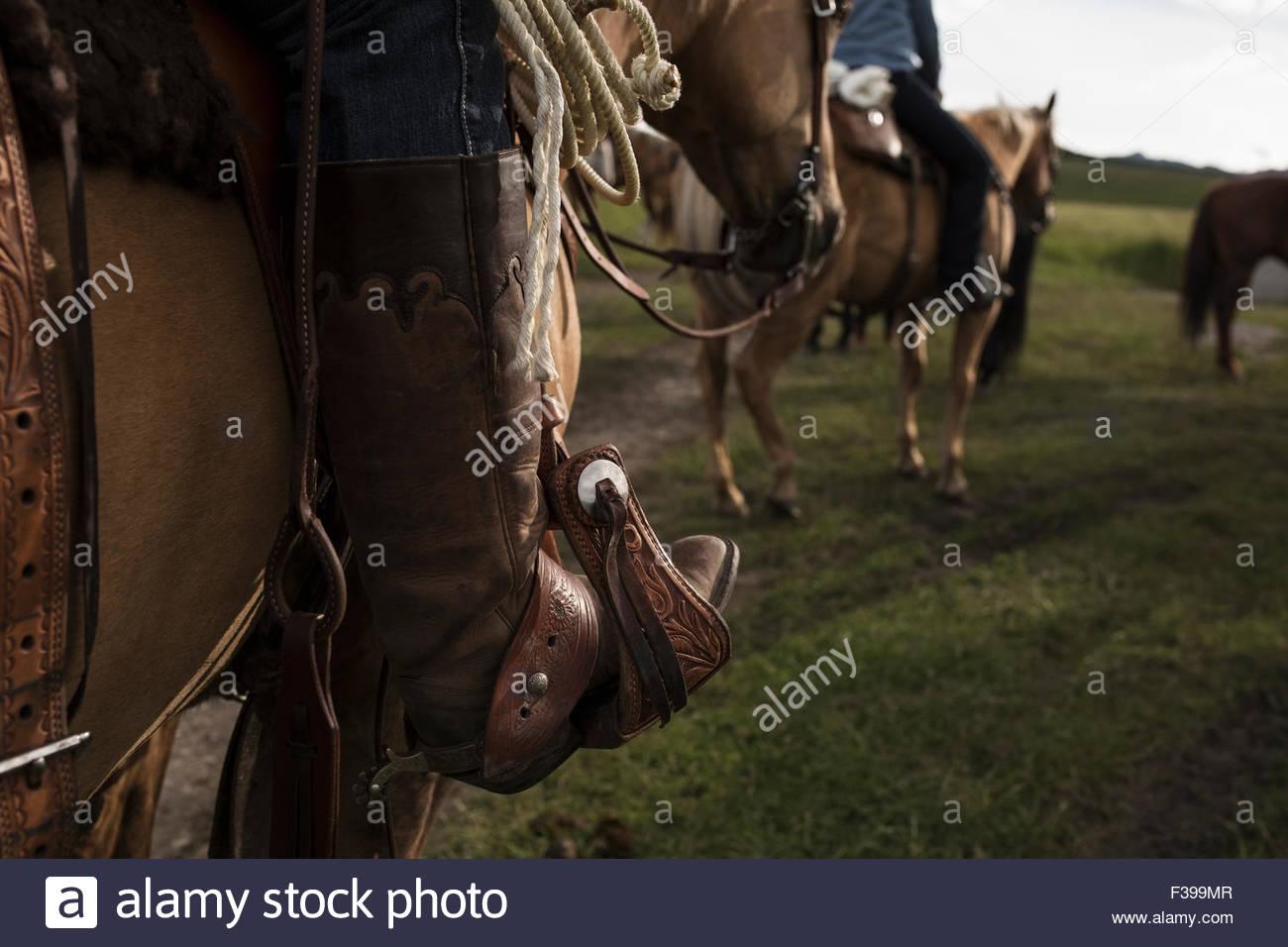 Cerca de womans bota de vaquero en el estribo, en caballo. Imagen De Stock