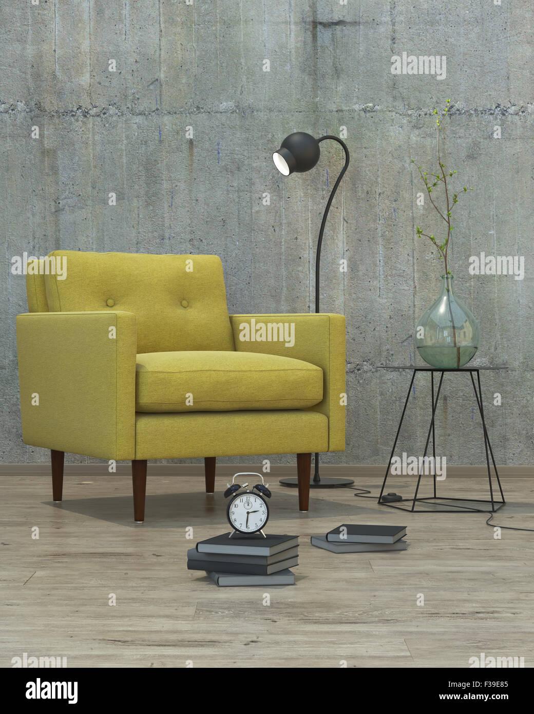 Interior moderno con sofá amarillo de fondo, 3D Imagen De Stock