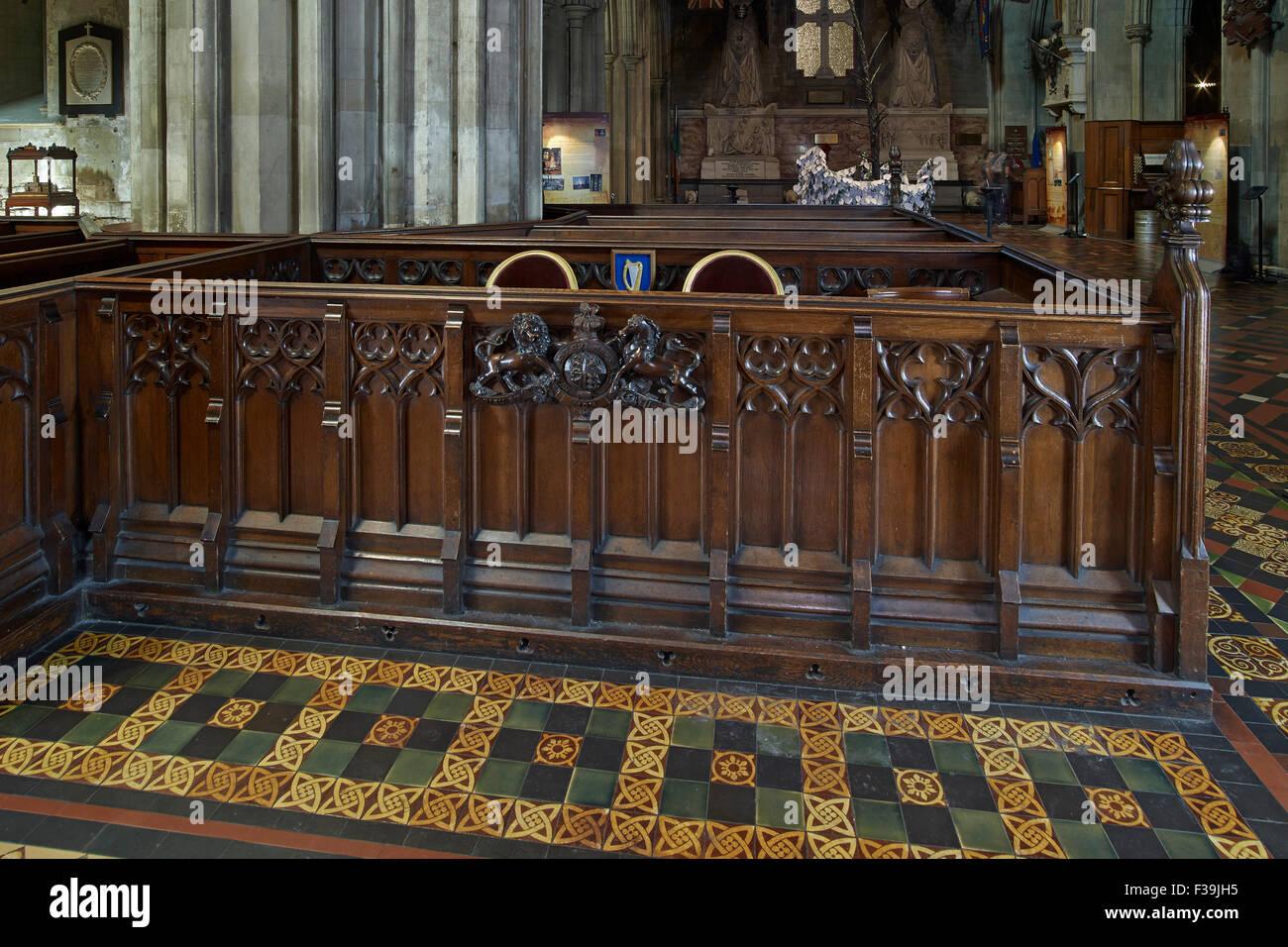 La Catedral de St Patrick Estado pew Imagen De Stock