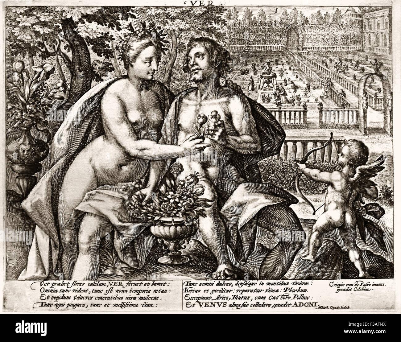 Primavera 1614 Crispijn van de Passe 1 ( 1564 - 1637 ) Holanda Holandesa grabado Imagen De Stock