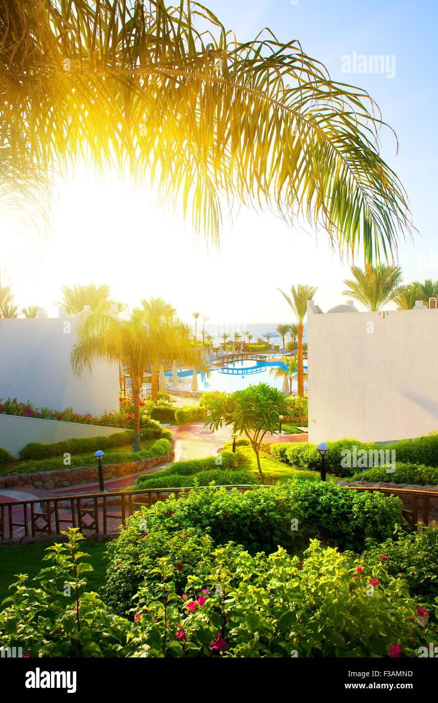 Hermoso paisaje en el hotel de Egipto Imagen De Stock