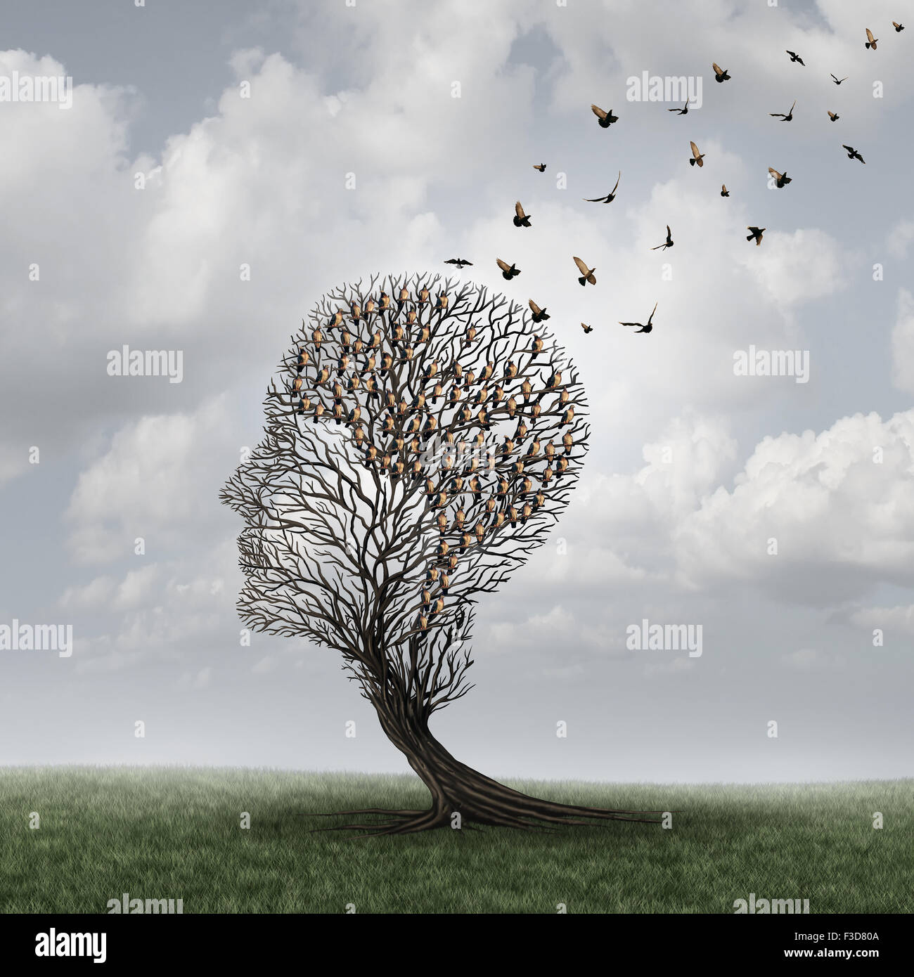 Concepto de pérdida de memoria y paciente con Alzheimer surrealista símbolo como un concepto de cuidados Imagen De Stock