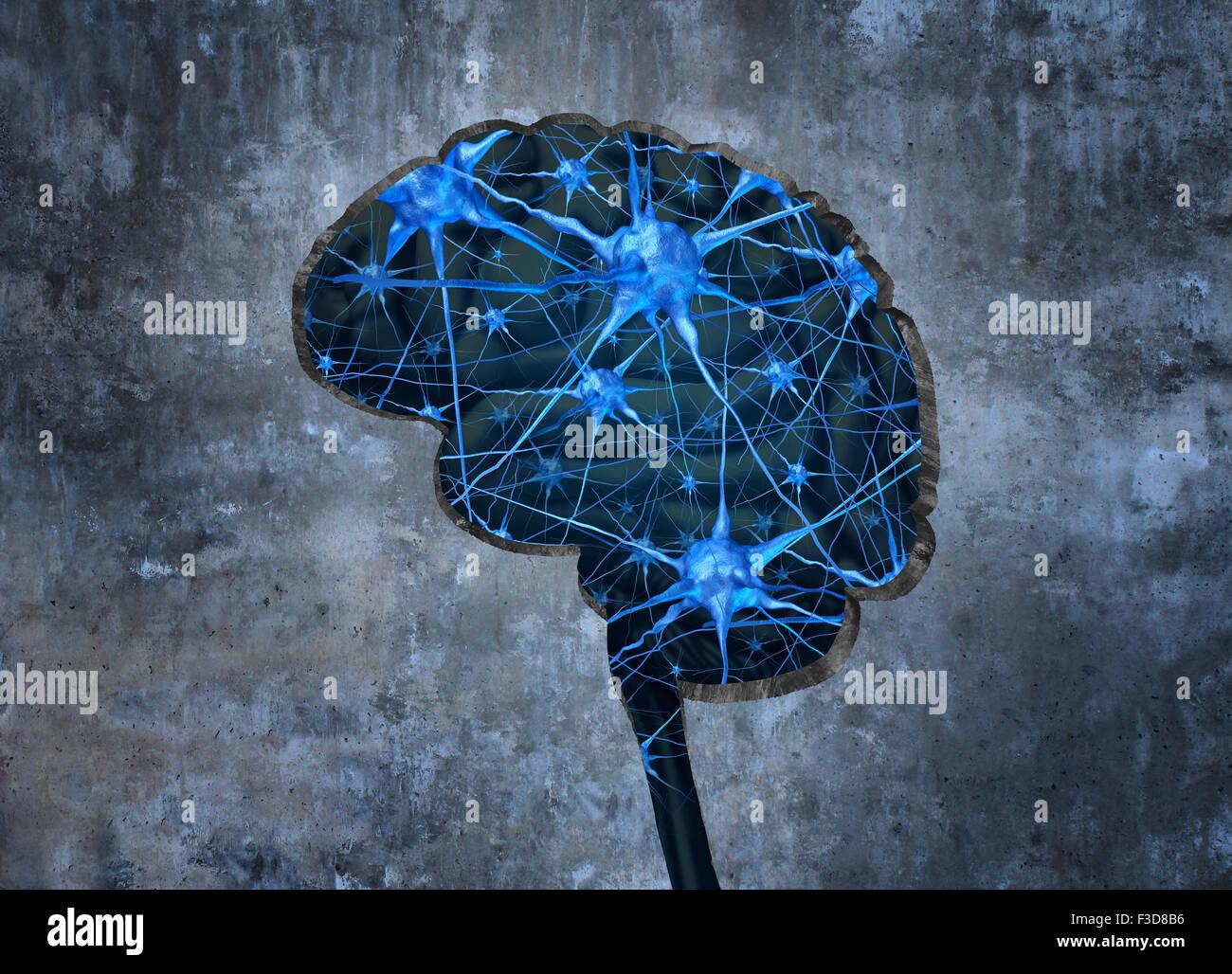 Dentro de neurología humana investigación examina el concepto de la mente de un ser humano para sanar la pérdida Foto de stock