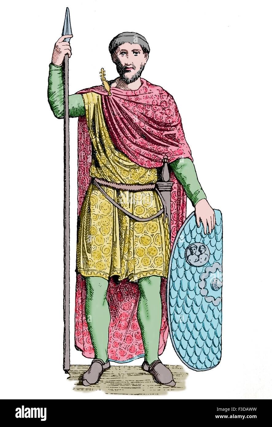 La antigüedad tardía. Easthern Imperio Romano. Noblemant. Siglo 5 DC. Grabado. Siglo xix. Posteriormente coloración. Foto de stock