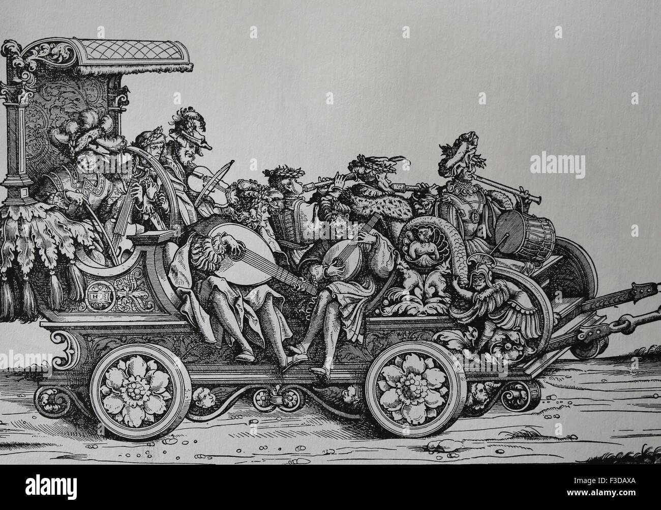 Europa. Italia. Carro con músicos tocando diferentes instrumentos musicales. Grabado. Imagen De Stock