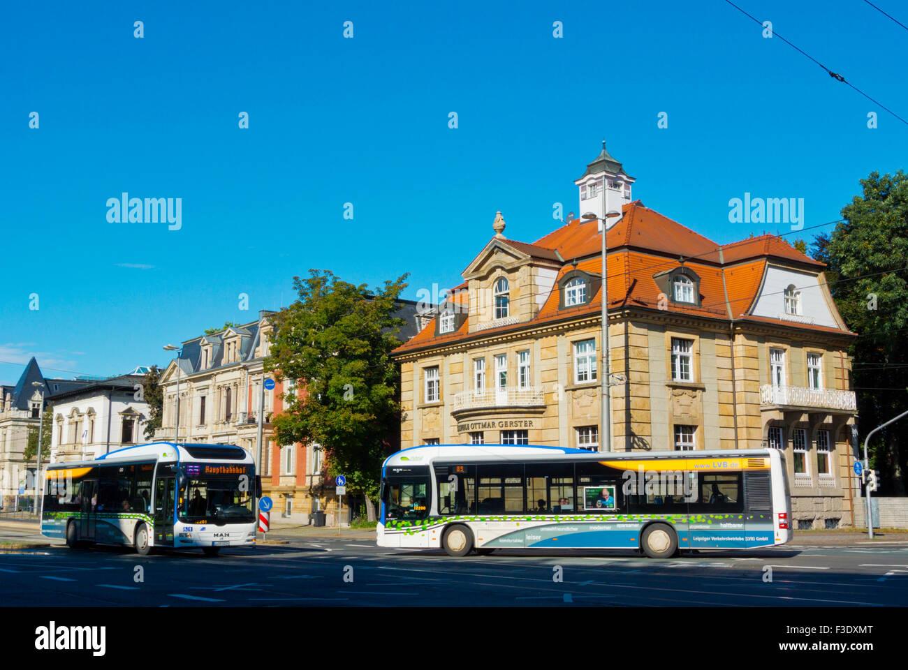 Los autobuses de transporte público, Karli, Karl-Tauchnitz-Strasse, Leipzig, Sajonia, Alemania Imagen De Stock