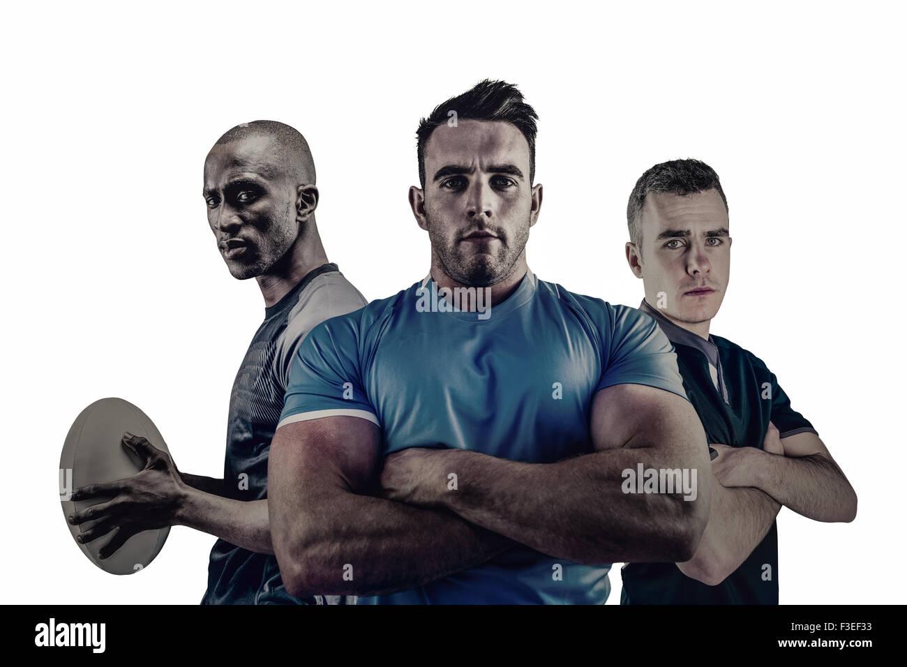 Grupo de jugadores de rugby dura Imagen De Stock