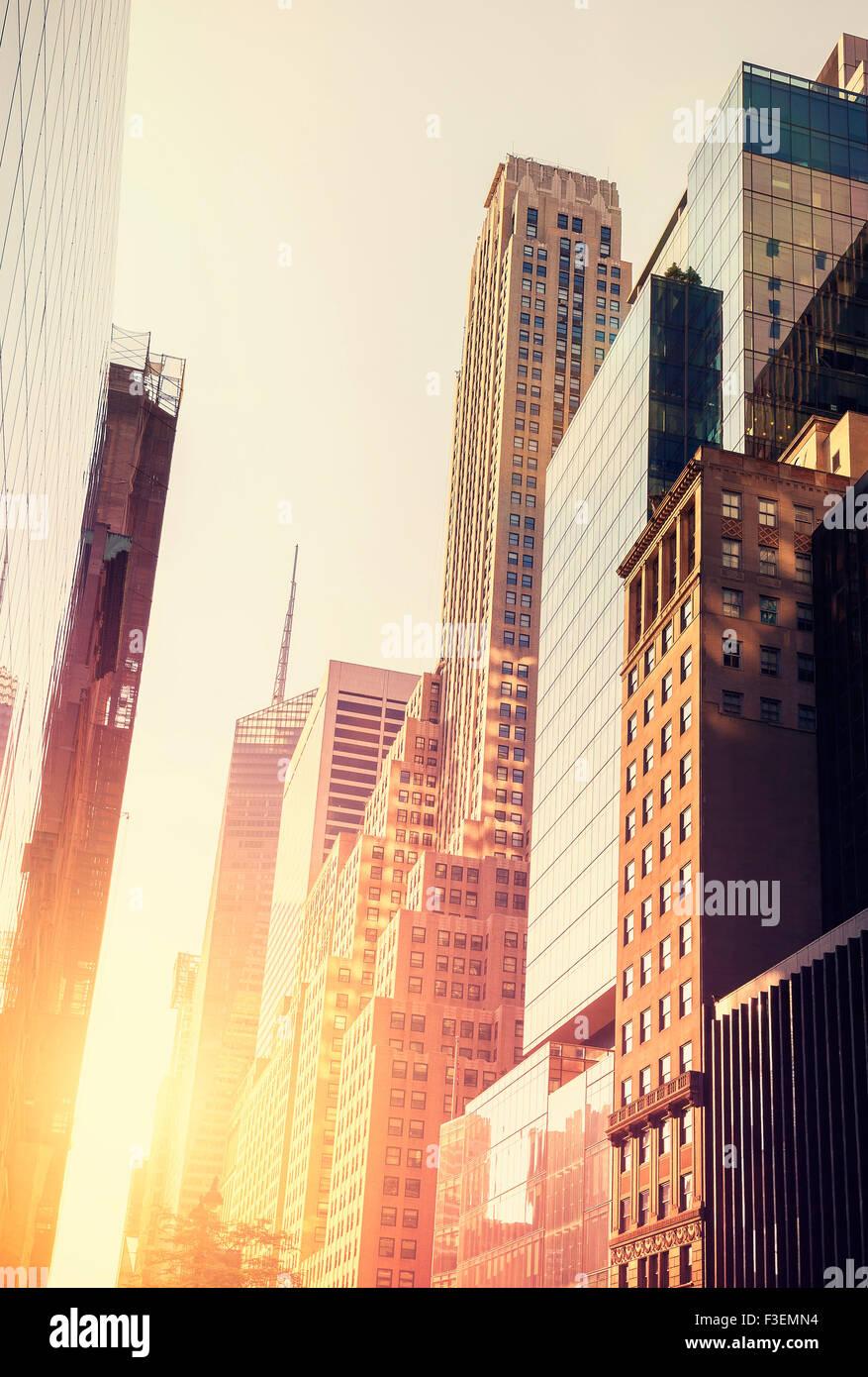 Imagen en tonos vintage de Manhattan al atardecer, Nueva York, Estados Unidos. Imagen De Stock