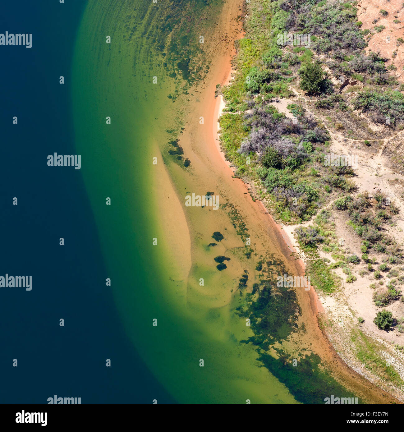 Vista aérea del Río Colorado, abstracto, fondo natural Horsewhoe Bend en Arizona, EE.UU. Imagen De Stock