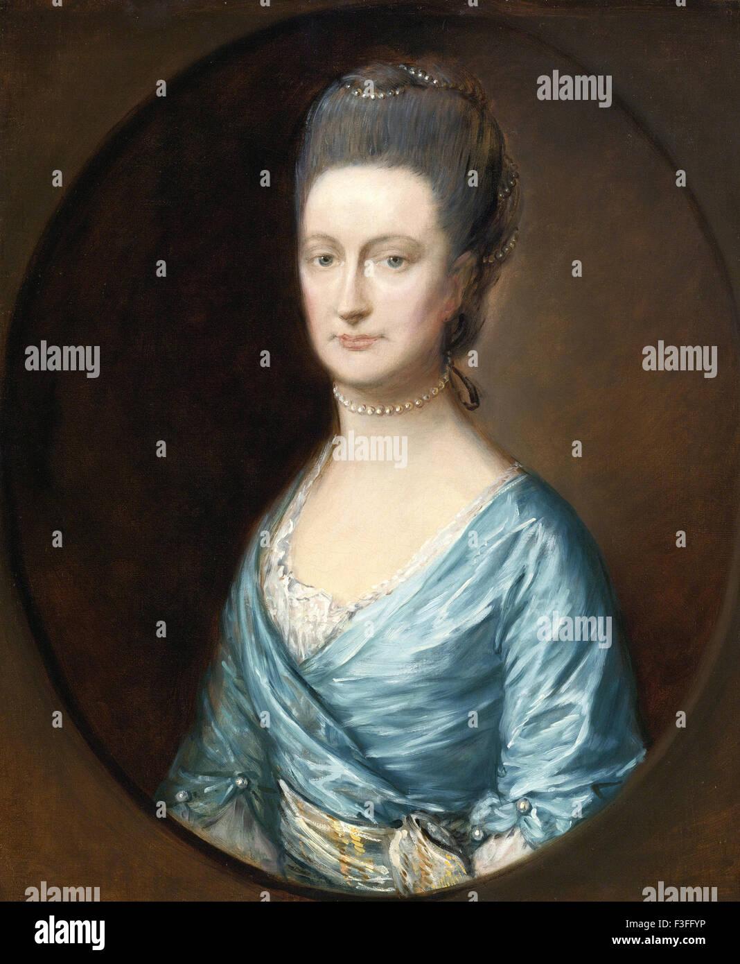 Thomas Gainsboroug - Retrato de dama Fludyer Imagen De Stock