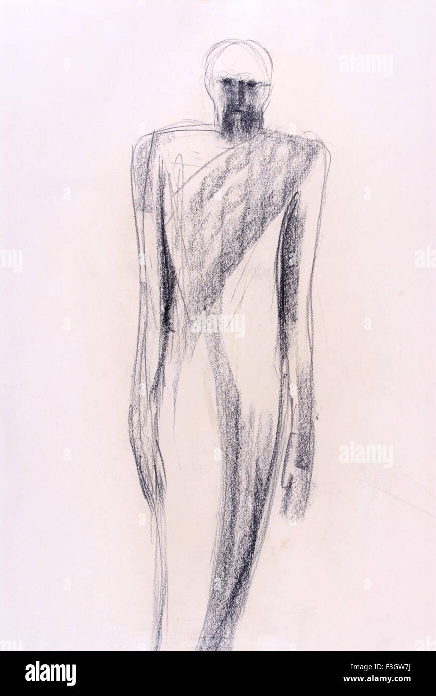El carbón de leña de dibujo de un hombre barbado en papel Foto de stock