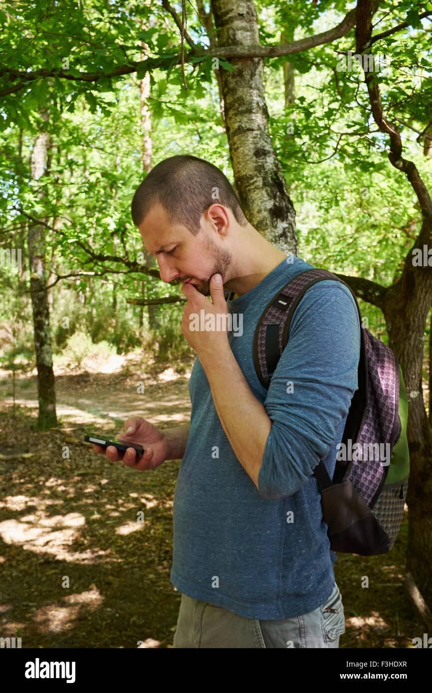 Excursionista macho mirando hacia abajo en el smartphone en bosque Imagen De Stock
