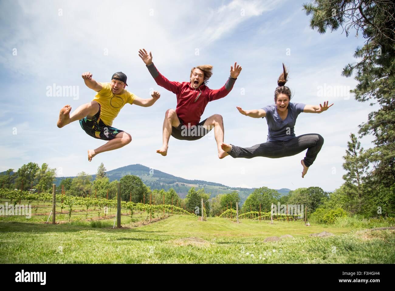 Tres adultos saltar en el entorno rural, el aire, la risa Imagen De Stock