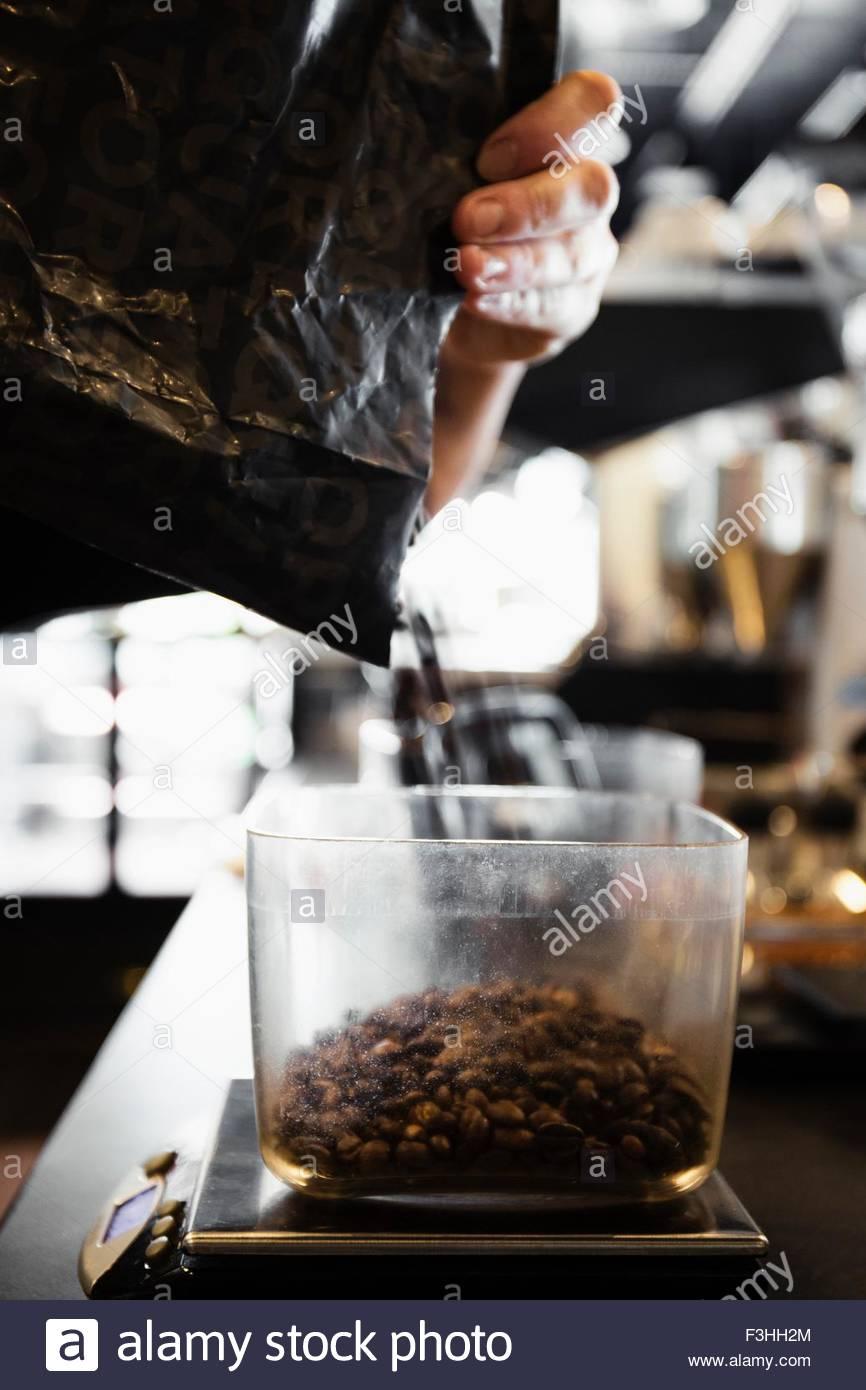 Cafetería Barista verter los granos de café, close-up Imagen De Stock