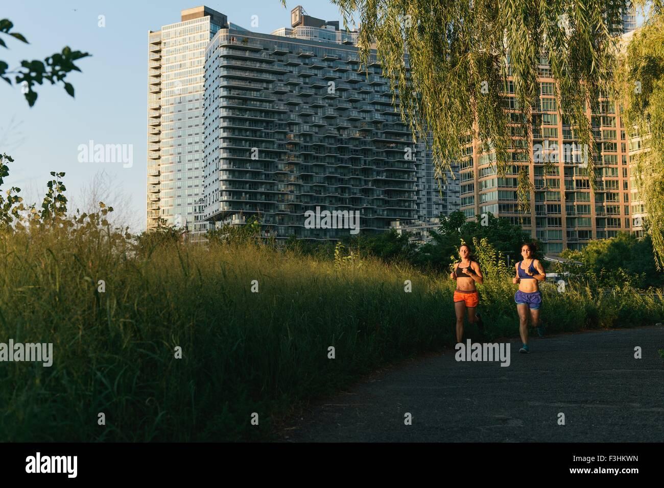 Dos amigos ejercitarse juntos, correr al aire libre Imagen De Stock