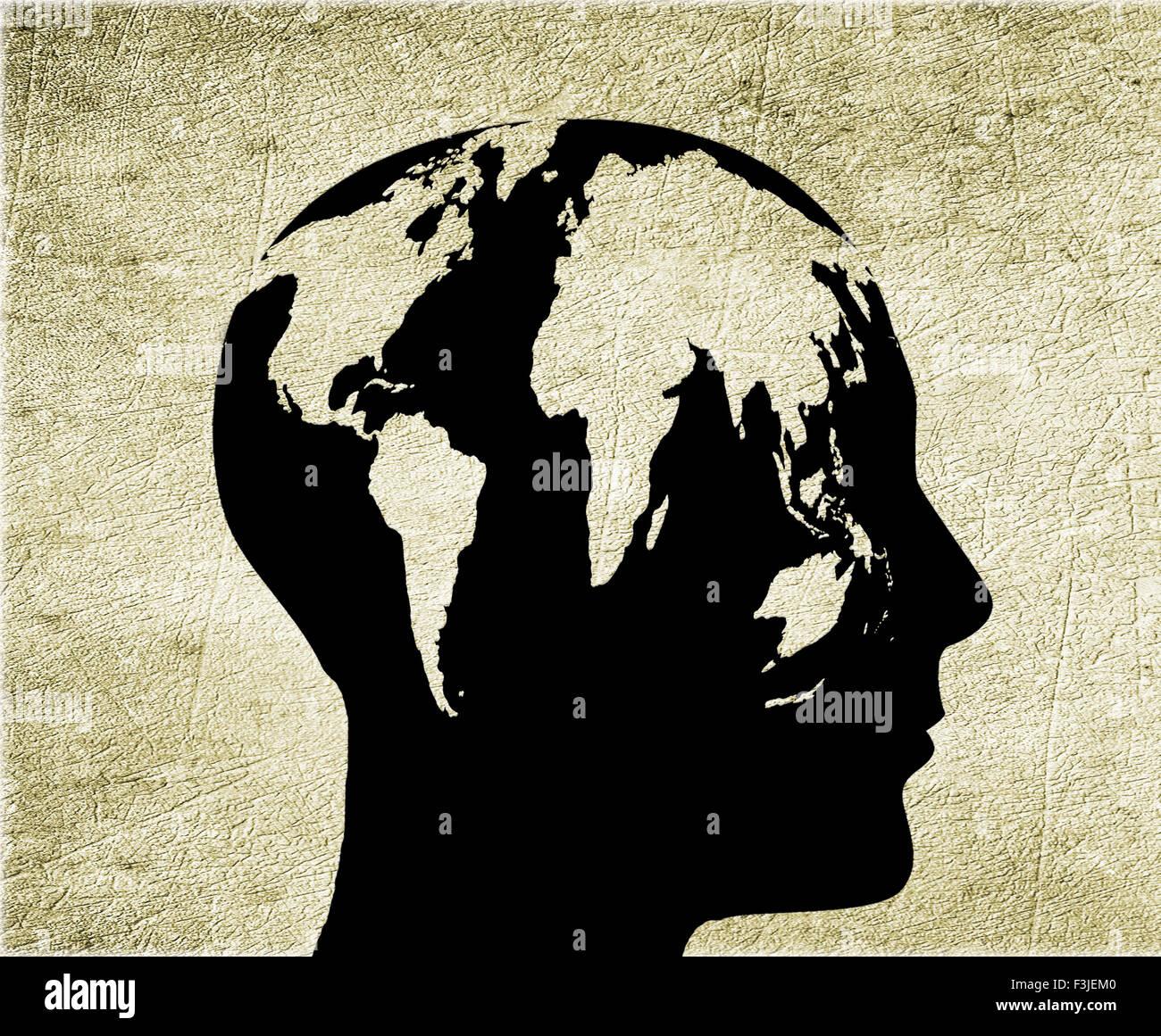 Hombre con cabeza mundial ilustración digital Imagen De Stock
