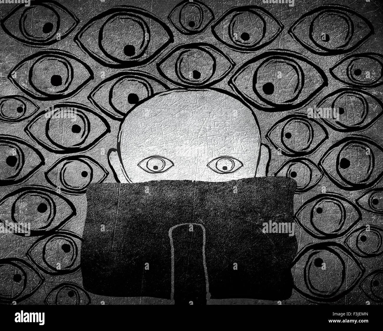 No hay privacidad concepto ilustración digital en blanco y negro Imagen De Stock