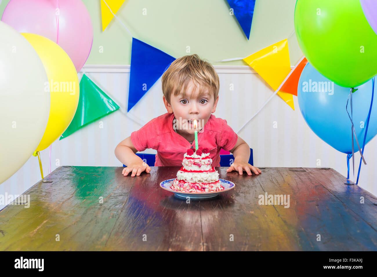 Adorable kid soplar las velas en su pastel de cumpleaños Imagen De Stock