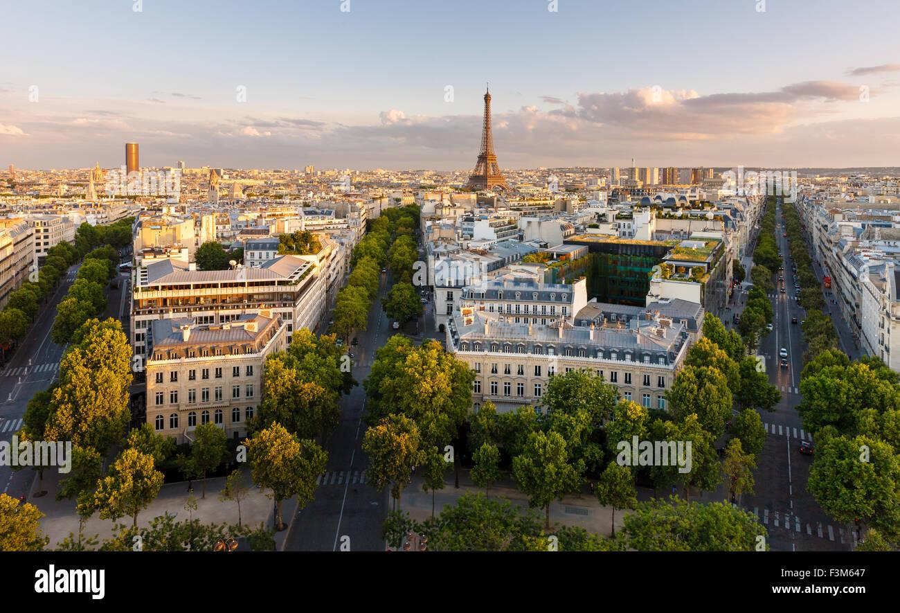 París desde arriba lucimiento de los tejados, la Torre Eiffel de París, avenidas arboladas, con sus edificios de estilo Haussmann. Francia Foto de stock