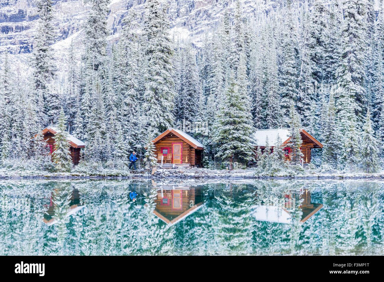 Cabañas, Lago O'Hara, el Parque Nacional Yoho, British Columbia, Canadá Foto de stock