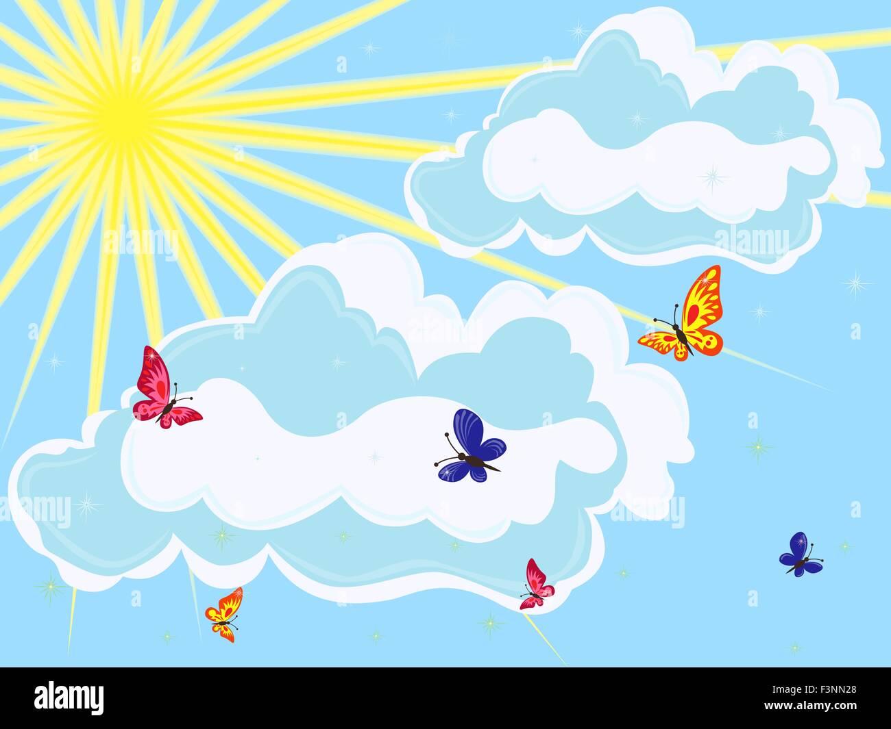 El Cielo Con El Sol Las Nubes Y Mariposas En Primer Plano Dibujo A