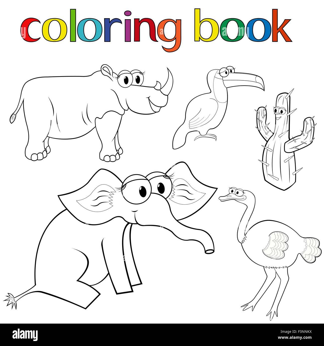 Conjunto De Animales Para Colorear Con El Rinoceronte El Elefante Y
