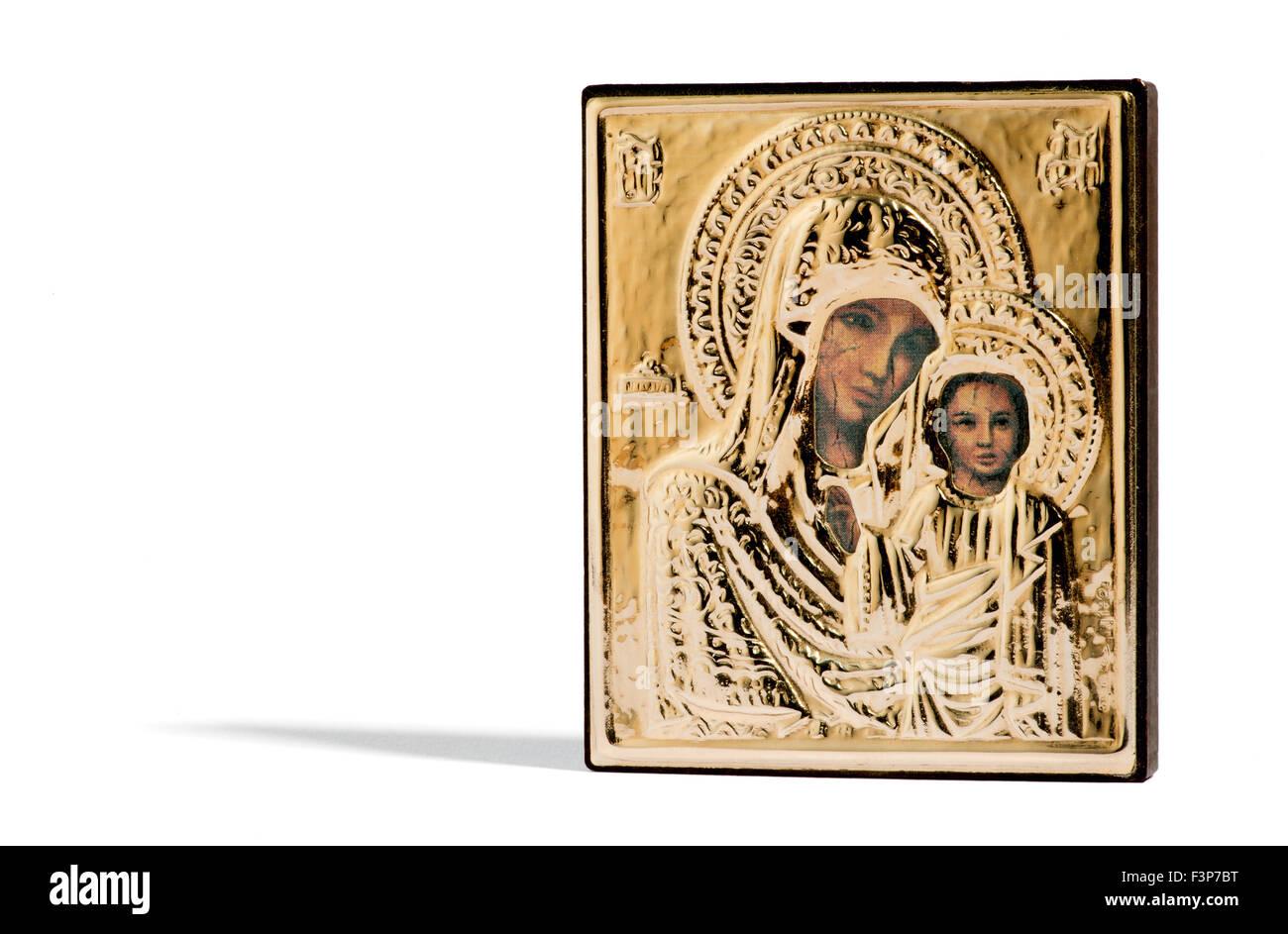 Icono religioso de madera pintada de la Virgen María y el niño Jesús Imagen De Stock