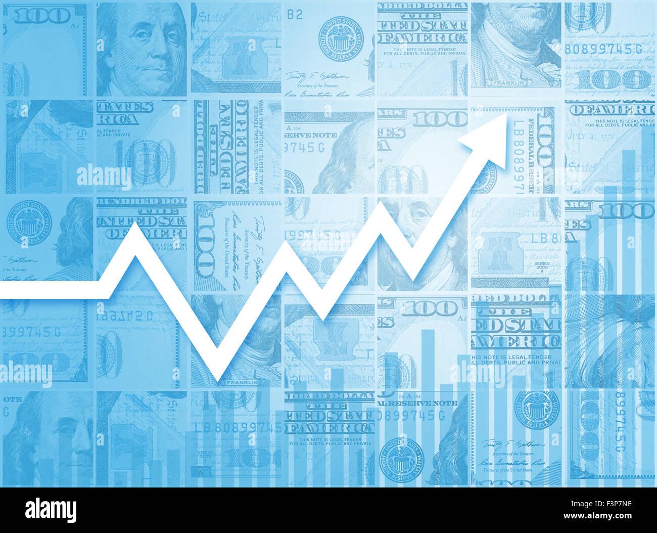 El crecimiento del negocio financiero Mercado Bursátil Gráfico de barras Imagen De Stock