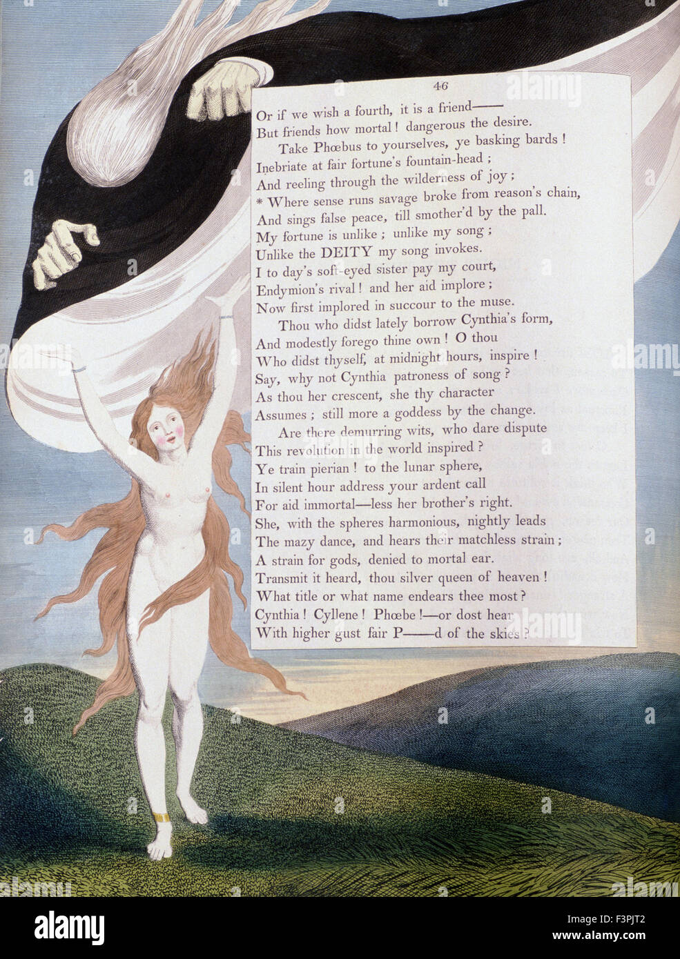 """William Blake - Ilustración de la página 46 de la """"Noche"""" de Edward Young's noche 'Pensamientos' Imagen De Stock"""