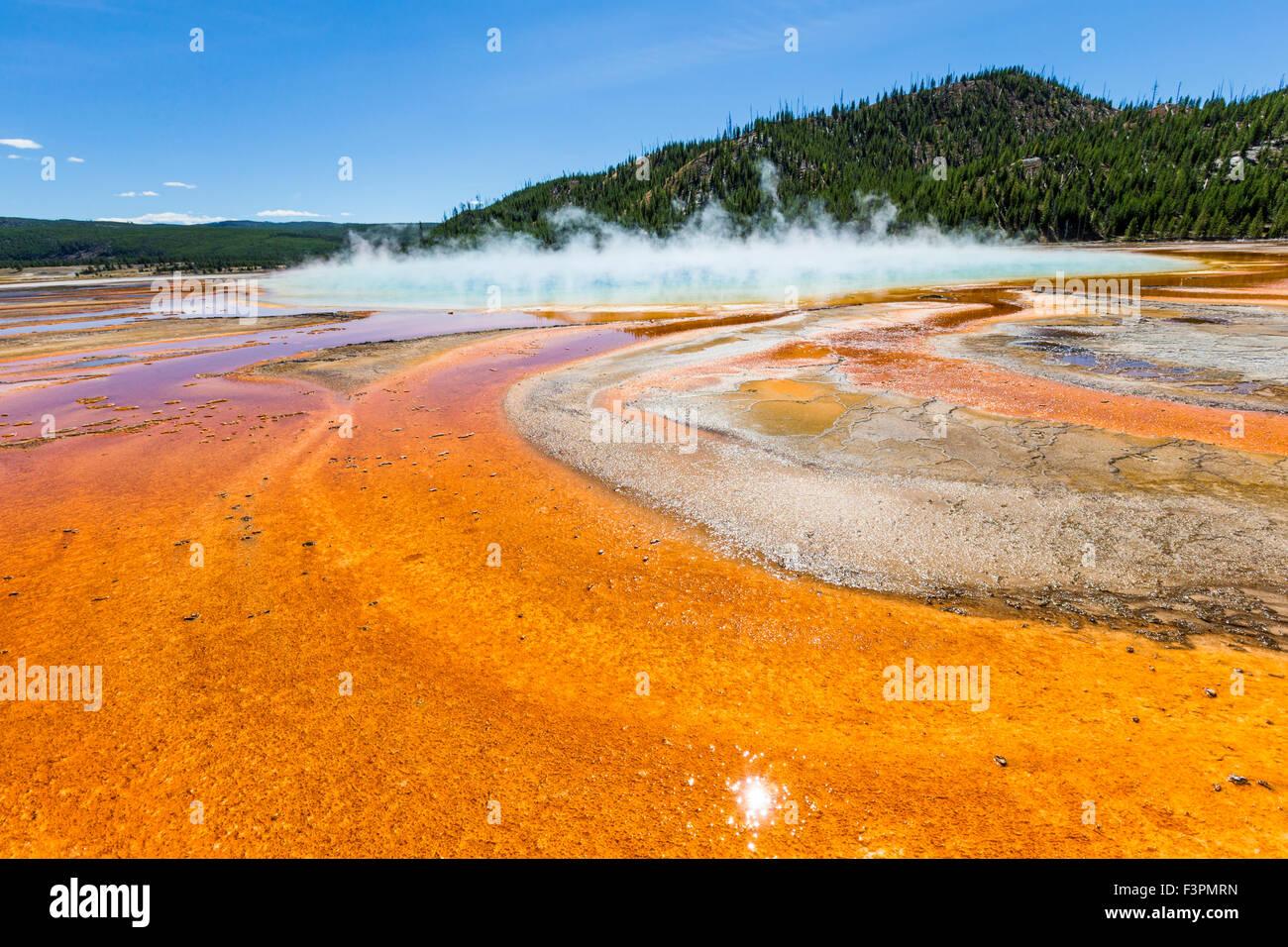 Grand Prismatic Spring; Cuenca del Géiser de Midway, el Parque Nacional Yellowstone, Wyoming, EE.UU. Imagen De Stock