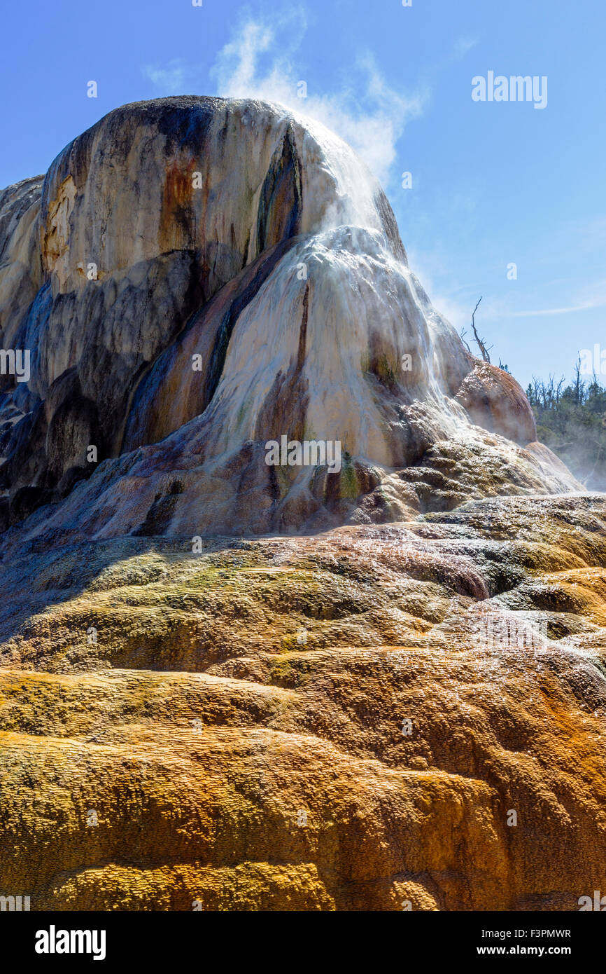 Orange Spring Mound; Mammoth Hot Springs, Parque Nacional Yellowstone, Wyoming, EE.UU. Imagen De Stock