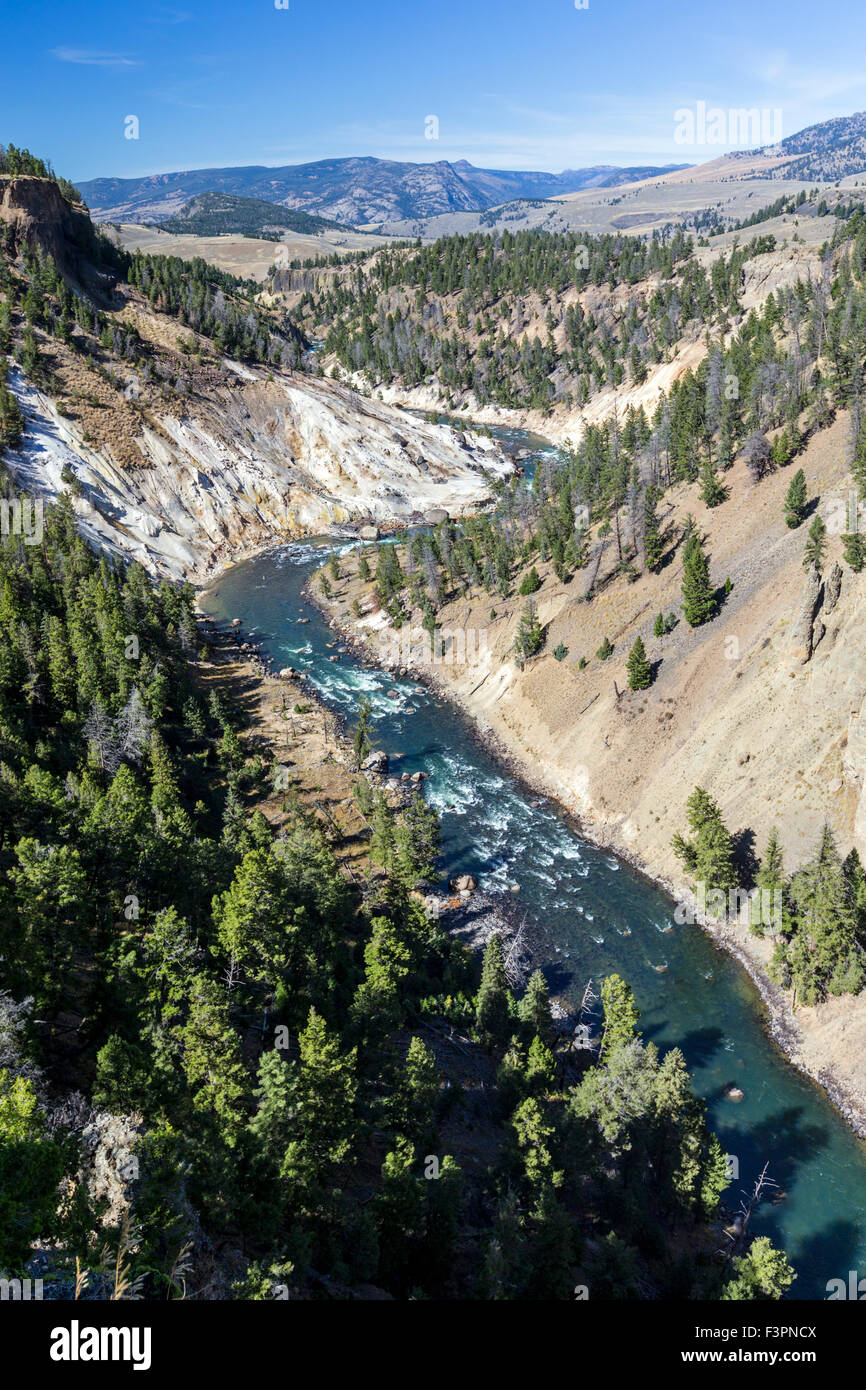 Resortes de calcita; Yellowstone Río; Gran Cañón del Yellowstone, el Parque Nacional Yellowstone, Wyoming, EE.UU. Foto de stock