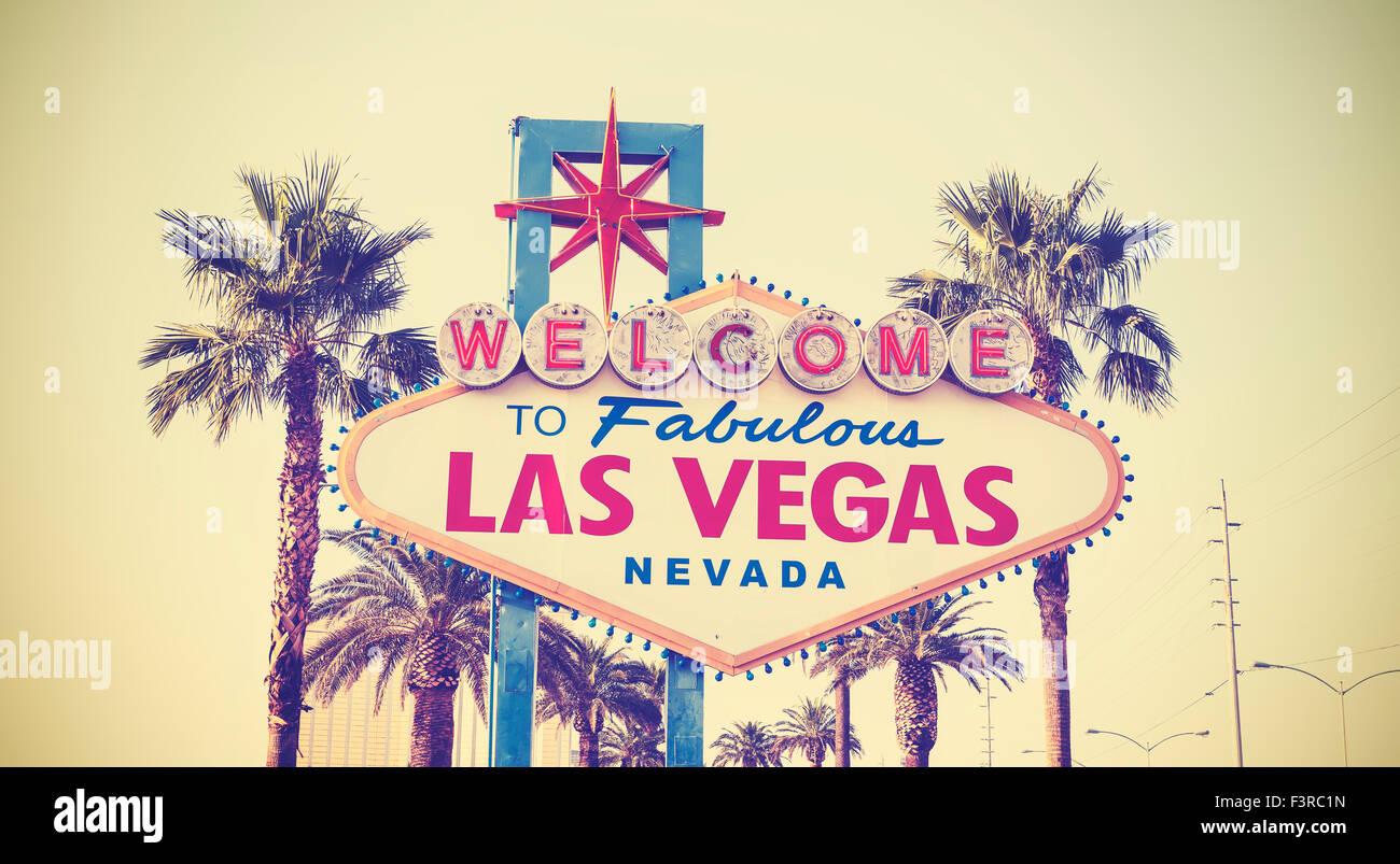 Tonos Vintage Retro Bienvenido al signo de Las Vegas, EE.UU.. Imagen De Stock