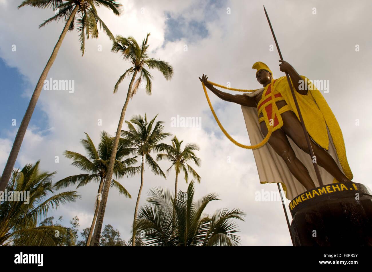 La estatua de Kamehameha el Grande en Kapa'au. Isla Grande. Hawaii. Ee.Uu.. Estatua Kamahameha reside en Hawaiʻi Island (conocido localmente un Foto de stock
