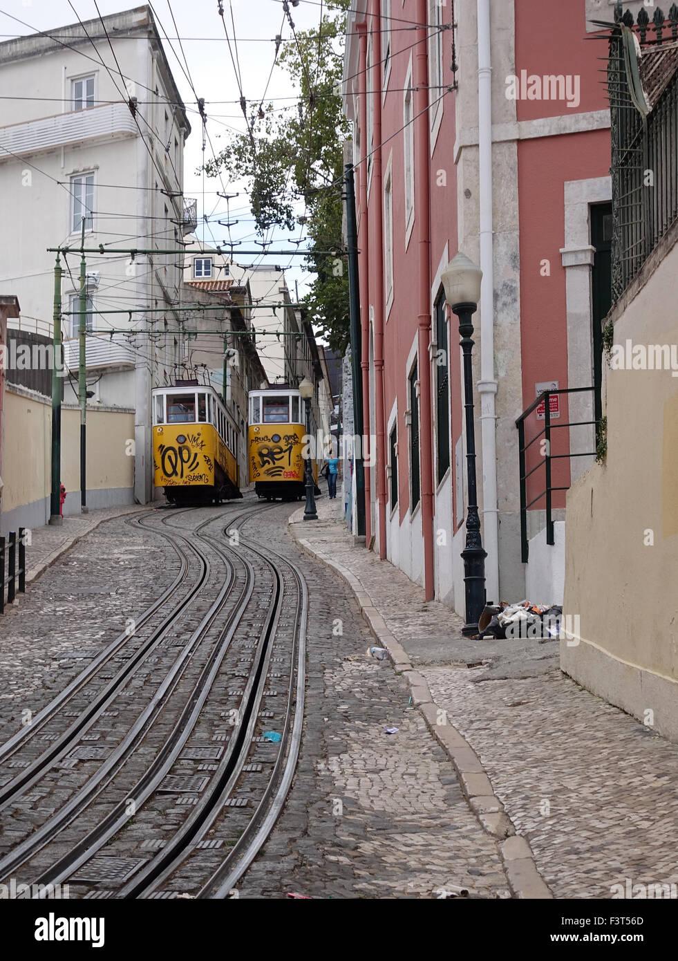 El Funicular Glória, Lisboa, Portugal -1 Imagen De Stock