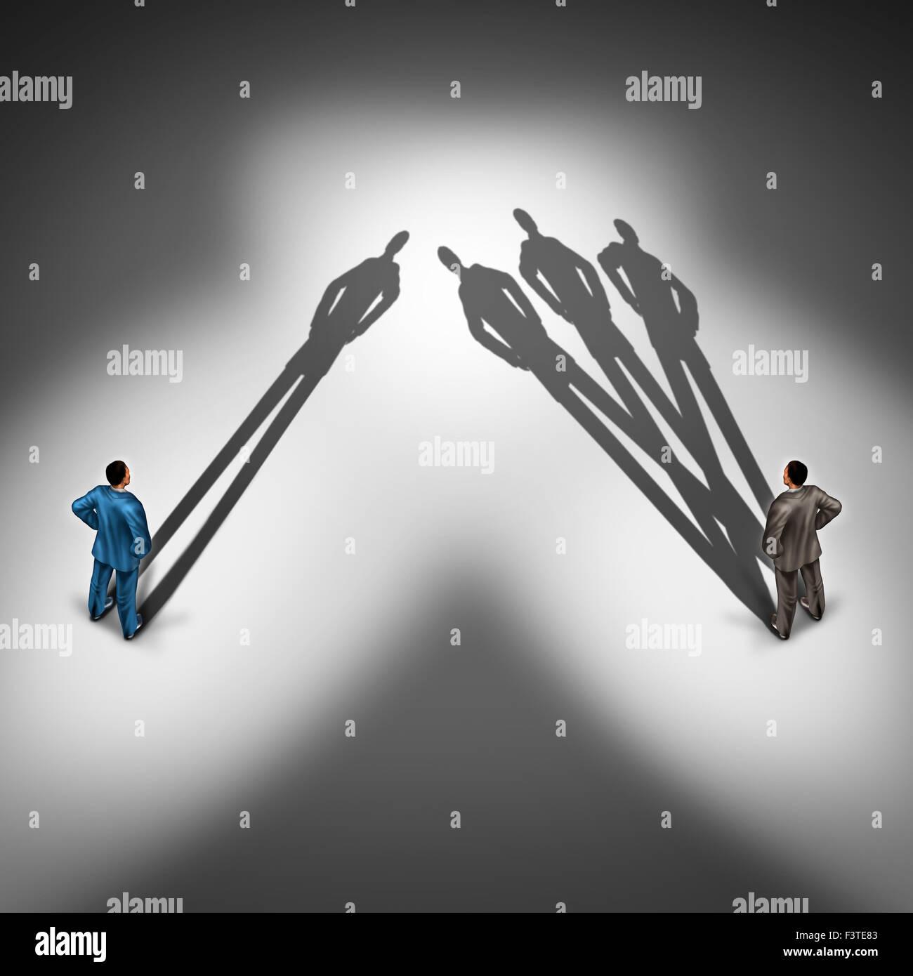Concepto de productividad del trabajador y empleado productivo símbolo como dos empresarios con una persona Imagen De Stock