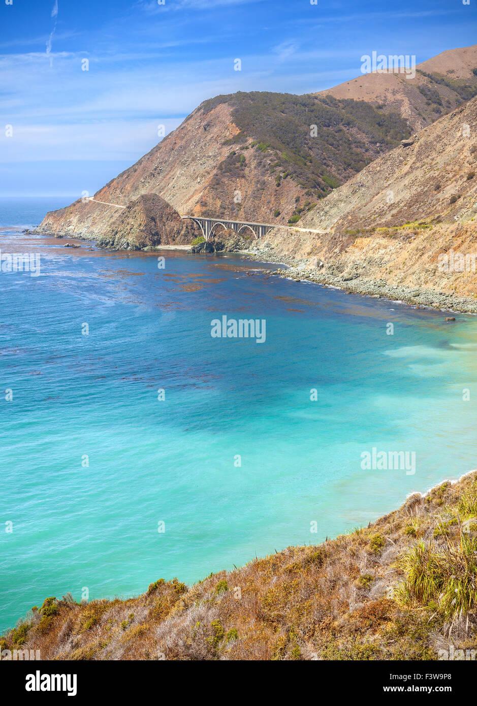A lo largo de la costa de California Pacific Coast Highway, EE.UU.. Foto de stock