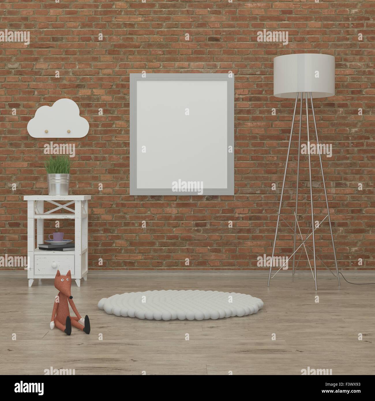 Los niños dormitorio interior imagen 3D rendering Imagen De Stock