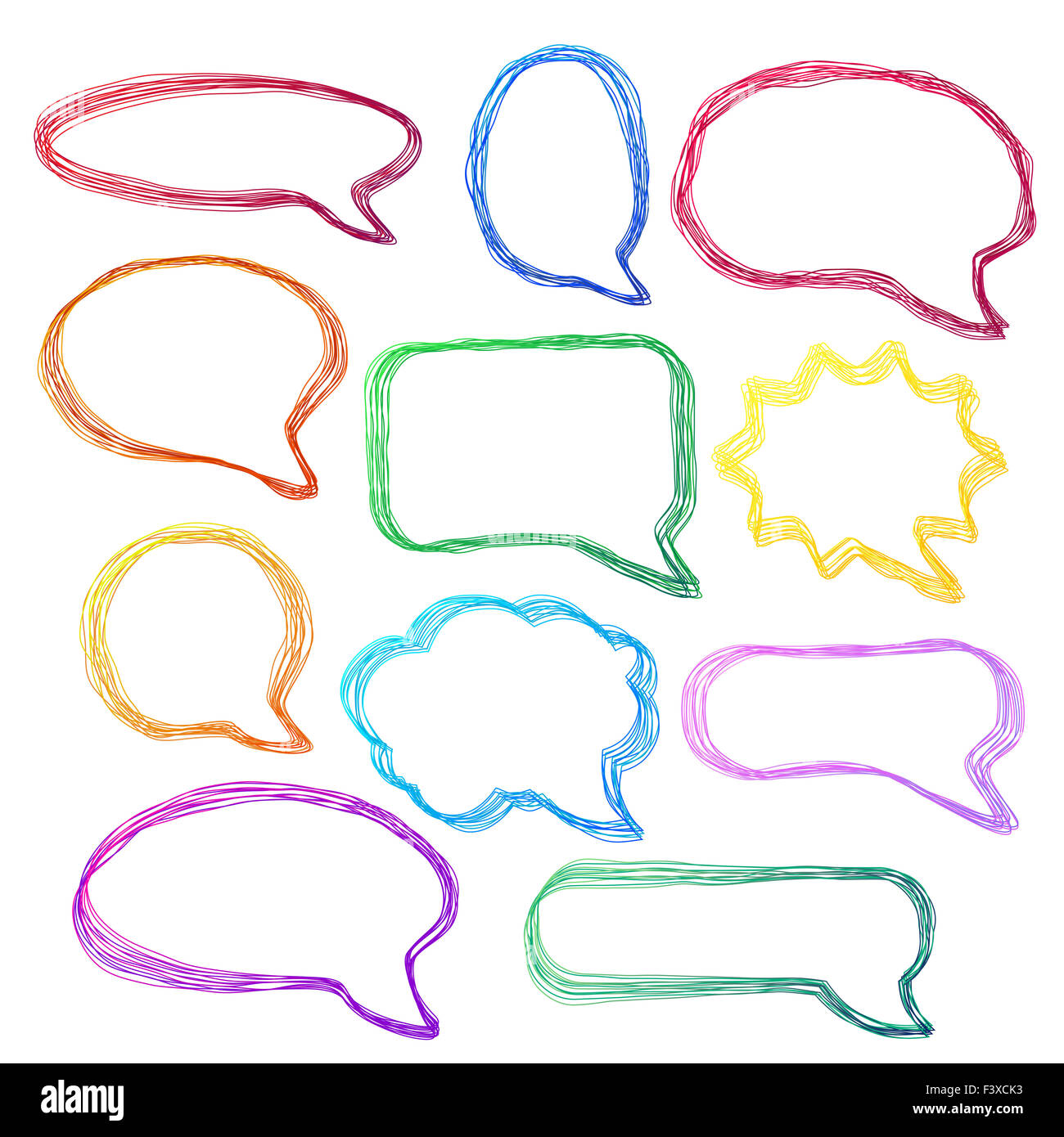 Dibujado a mano, coloridos globos de conversación Foto de stock