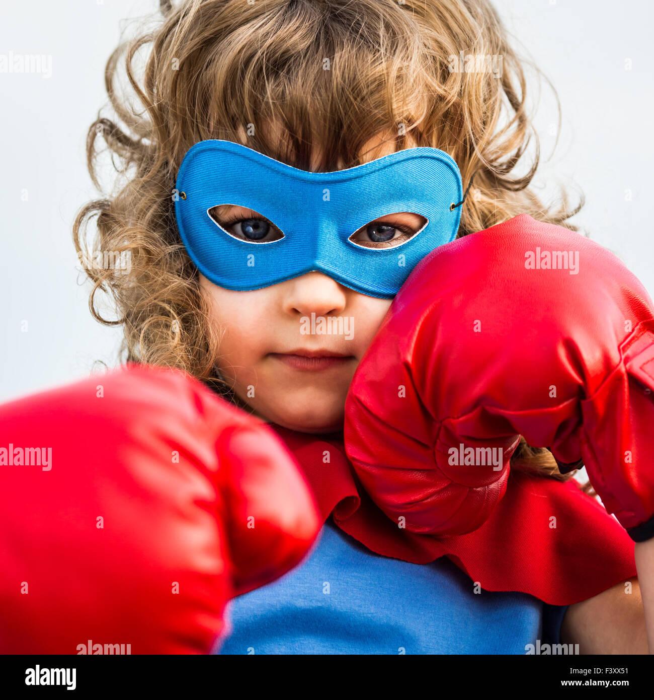 Superhéroe Kid. Girl Power concept Imagen De Stock