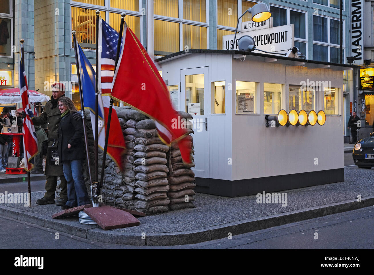 Sentry o ver la cabina en Checkpoint Charlie Imagen De Stock